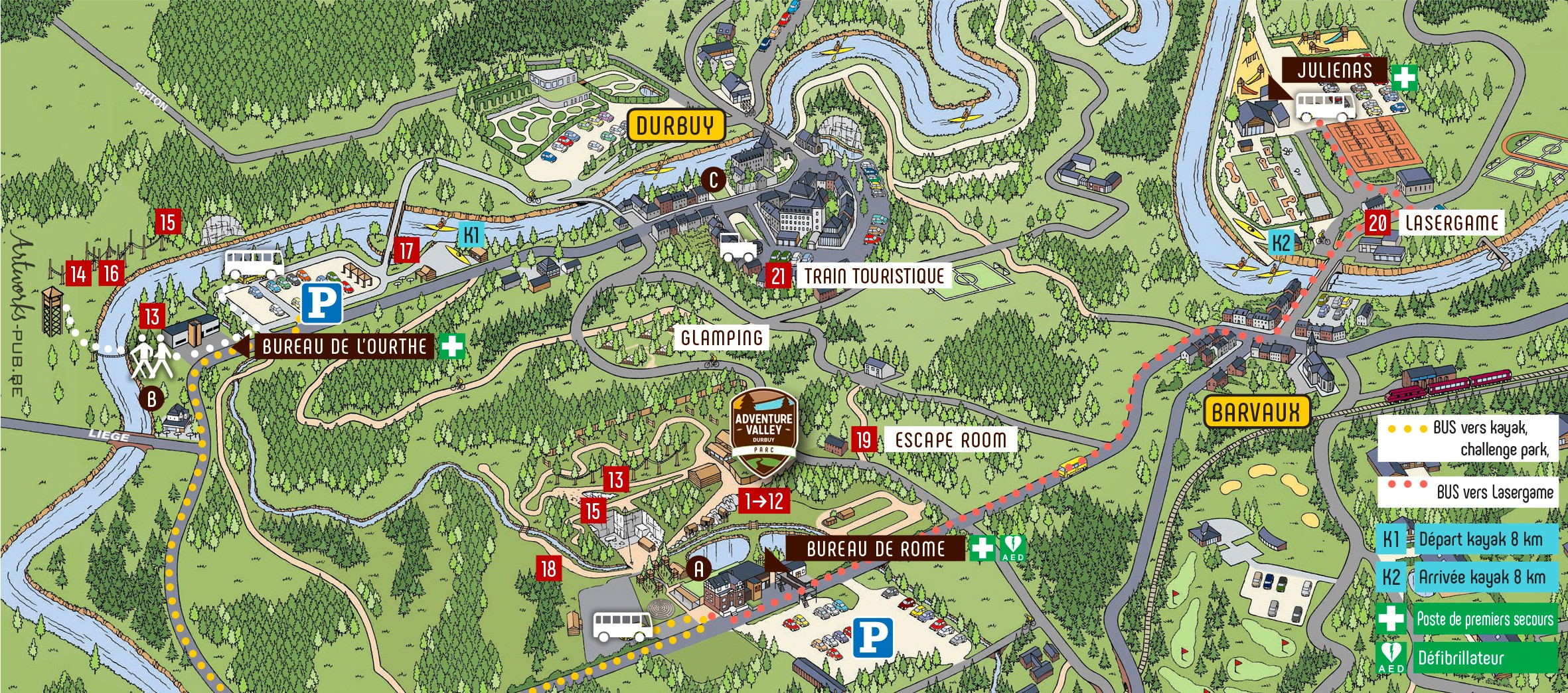 Park map   Adventure Valley - Durbuy Valley Map on
